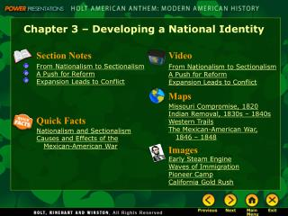 Chapter 3 – Developing a National Identity
