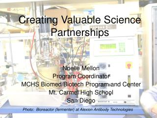 Creating Valuable Science Partnerships