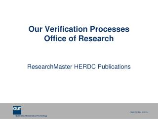 Our Verification Processes Office of Research