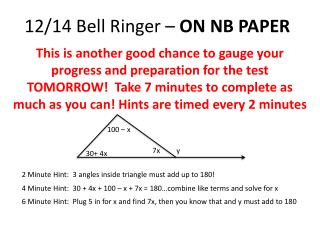 12/14 Bell Ringer –  ON NB PAPER