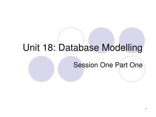 Unit 18: Database Modelling