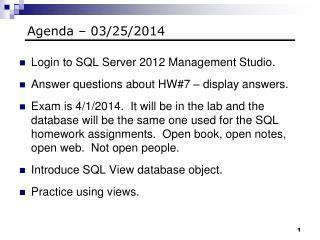 Agenda – 03/25/2014