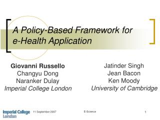 A Policy-Based Framework for  e-Health Application