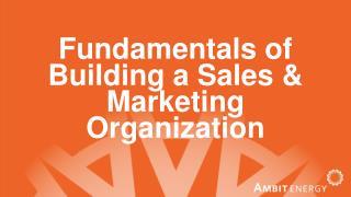 Fundamentals of Building a Sales & Marketing Organization