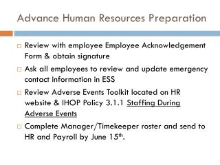 Advance Human Resources Preparation