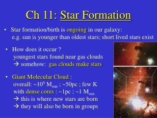 Ch 11:  Star Formation