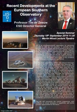 Special Seminar Thursday 18 th  September 2014 11:30 Martin Wood Lecture Theatre