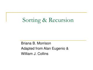 Sorting & Recursion
