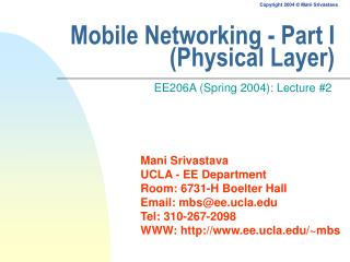 Mobile Networking - Part I (Physical Layer)