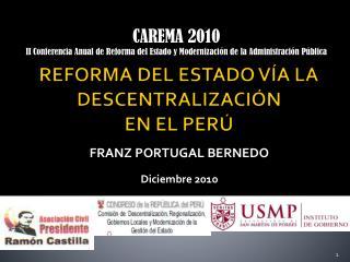 REFORMA DEL ESTADO VÍA LA DESCENTRALIZACIÓN EN EL PERÚ
