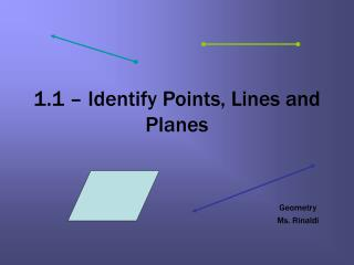 1.1 – Identify Points, Lines and Planes