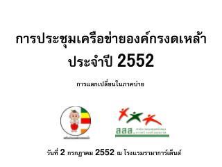 การประชุมเครือข่ายองค์กรงดเหล้า  ประจำปี  2552