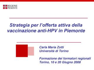 Strategia per l'offerta attiva della vaccinazione anti-HPV in Piemonte