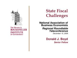 State Fiscal Challenges National Association of Business Economists