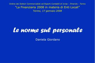 Le norme sul personale Daniela Giordano