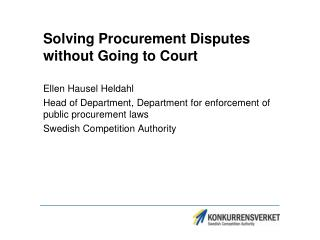 Solving Procurement Disputes without Going to Court