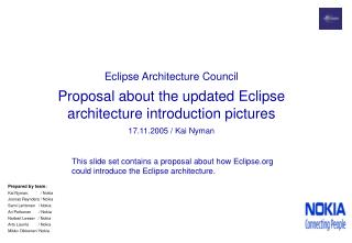 Eclipse Architecture Council Proposal about the updated Eclipse architecture introduction pictures