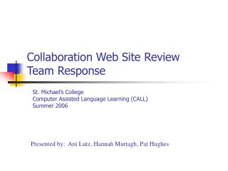 Collaboration Web Site Review Team Response