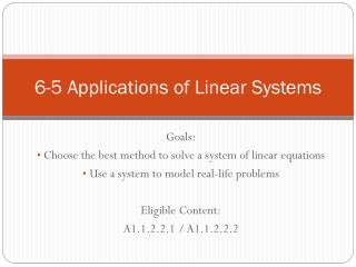 6-5 Applications of Linear Systems