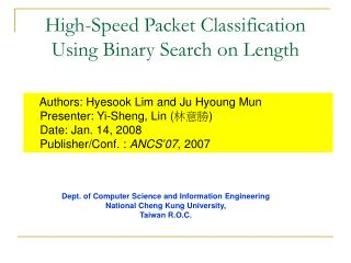 High-Speed Packet Classification Using Binary Search on Length
