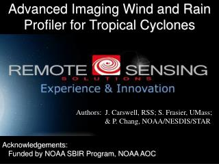 Advanced Imaging Wind and Rain Profiler for Tropical Cyclones