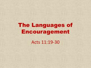 The Languages of Encouragement