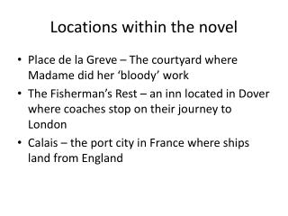 Locations within the novel