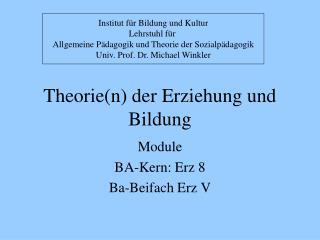 Theorien der Erziehung und Bildung