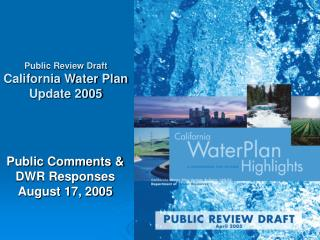 Public Comments & DWR Responses August 17, 2005