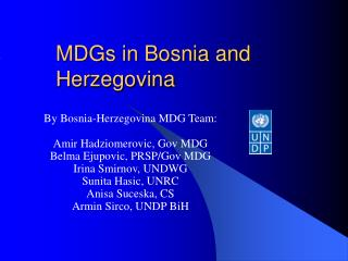 MDGs in Bosnia and Herzegovina