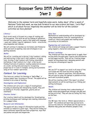 Summer Term 2014 Newsletter  Year 3