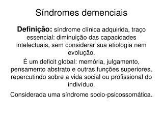 Síndromes demenciais