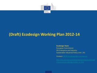 Draft Ecodesign Working Plan 2012-14