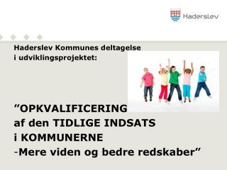 """Haderslev Kommunes deltagelse i udviklingsprojektet:  """"OPKVALIFICERING  af den TIDLIGE INDSATS"""