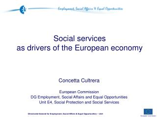 Social services  as drivers of the European economy