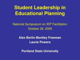 Student Leadership in Educational Planning