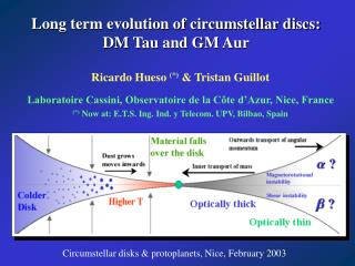 Long term evolution of circumstellar discs:  DM Tau and GM Aur