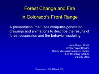 Forest Change and Fire in Colorado's Front Range