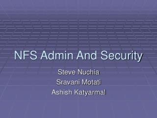 NFS Admin And Security