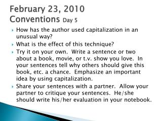 February 23,  2010 Conventions  Day 5