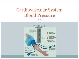 Cardiovascular System Blood Pressure