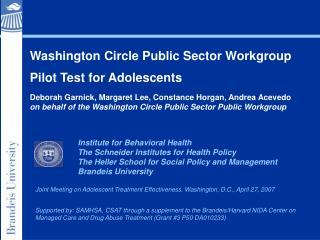 Washington Circle Public Sector Workgroup Pilot Test for Adolescents