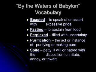 """By the Waters of Babylon"" Vocabulary"