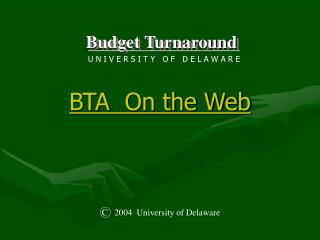 BTA Tutorial PowerPoint Presentation