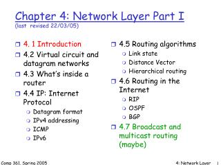 Chapter 4: Network Layer Part I  (last  revised 22/03/05)