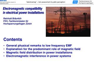 Electromagnetic compatibility in electrical power installations