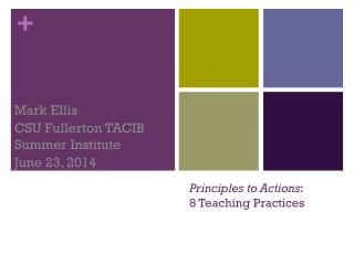 Principles to Actions :  8 Teaching Practices