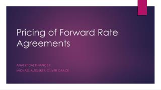 Pricing of Forward Rate Agreements