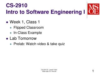 CS-2910 Intro to Software Engineering I