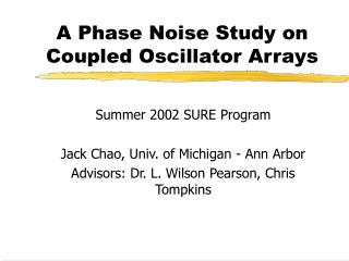 A Phase Noise Study on Coupled Oscillator Arrays